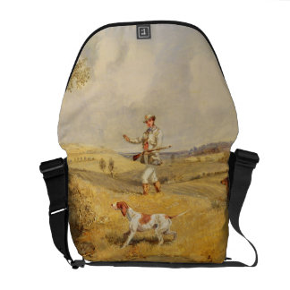 Partridge Shooting (oil on panel) Messenger Bags