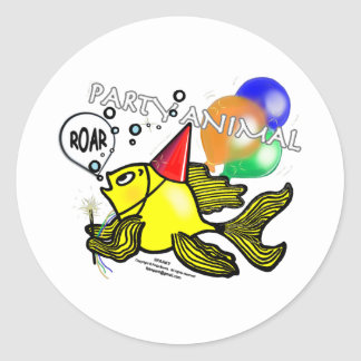 Party Animal Fish Classic Round Sticker