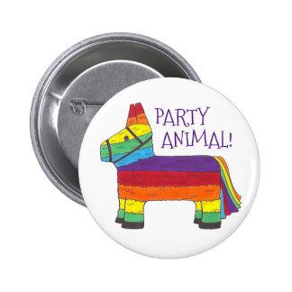 Party ANIMAL Rainbow Donkey Piñata Birthday Fiesta 6 Cm Round Badge