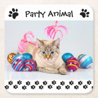 Party Animal - Square Drink Coaster
