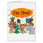 Party Animals 5th Birthday Tshirts and Gifts Greeting Cards