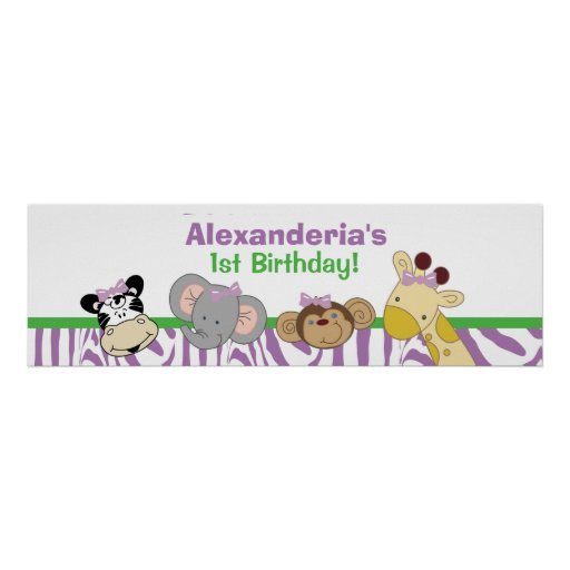 Party Animals Custom Birthday Banner Poster Print