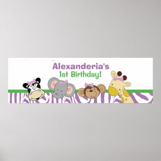 Party Animals Custom Birthday Banner Poster Print