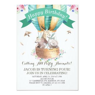Party Animals Hot Air Balloon Happy Birthday Card