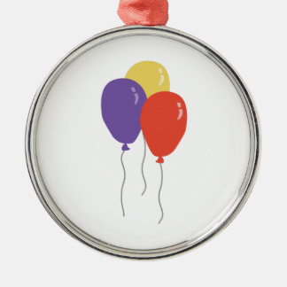 Party Balloons Silver-Colored Round Ornament