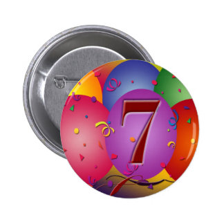 Party balloons for 7th birthday 6 cm round badge