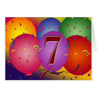 Party balloons for 7th birthday greeting card