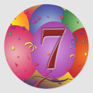Party balloons for 7th birthday round sticker