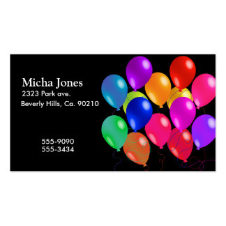 Party Balloons In A Rainbow Of Colors Business Card Templates