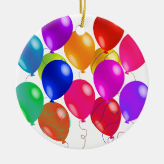 Party Balloons In A Rainbow Of Colors Round Ceramic Decoration