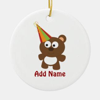 Party Bear Round Ceramic Decoration