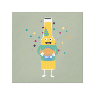 Party Beer Bottler with Cake Z4zzo Canvas Print