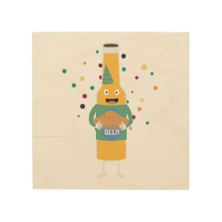 Party Beer Bottler with Cake Z4zzo Wood Wall Art