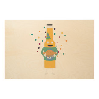Party Beer Bottler with Cake Z4zzo Wood Wall Decor