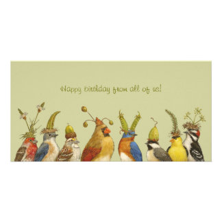 Party birds on happy birthday from all of us card personalised photo card