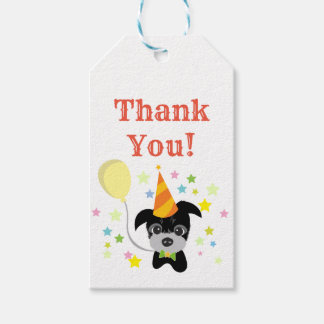 party black little dog thank you gift tag