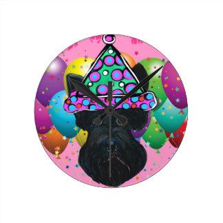 Party Black Scottish Terrier Round Clock
