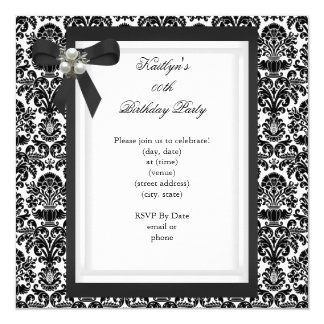 Party Black White Damask Pearl Jewel Image 13 Cm X 13 Cm Square Invitation Card