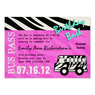 Party Bus Birthday Bash 13 Cm X 18 Cm Invitation Card
