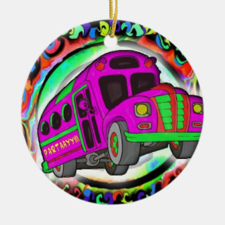 Party Bus.jpg Round Ceramic Decoration