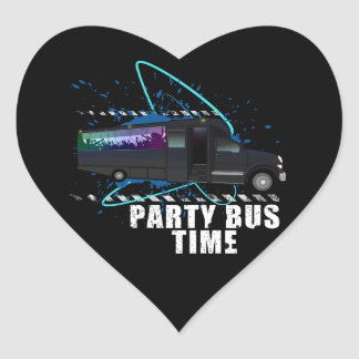 Party Bus Time Heart Sticker