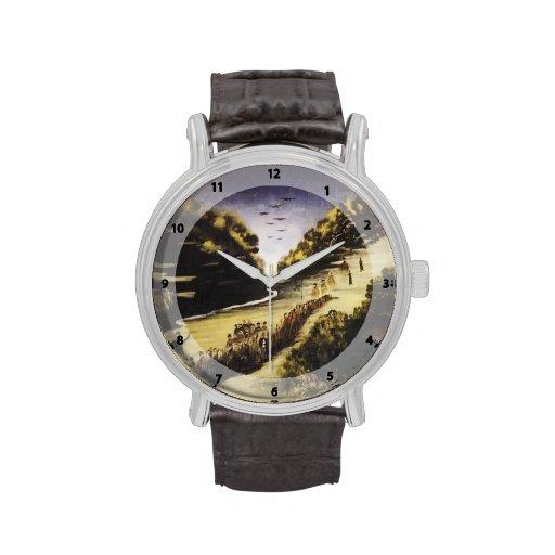 Party by the River Zkheniszkali by Niko Pirosmani Wrist Watches