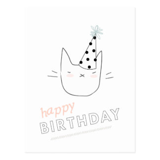 Party Cat Happy Birthday Postcard