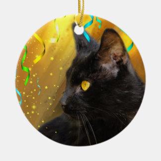 Party cat round ceramic decoration