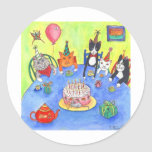 Party Cats!  Birthday kitty cats fun funny cards Classic Round Sticker