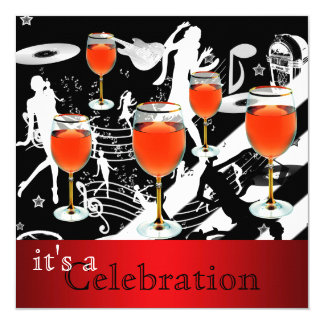 Party Celebration Red Wine Glass Retro Music Card