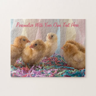 Party Chicks Yellow Baby Chickens Streamers Jigsaw Puzzle
