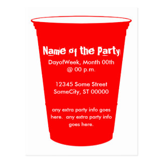 party cup invite postcard