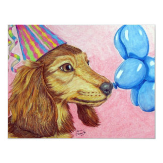 Party Dachshund 4.25x5.5 Paper Invitation Card