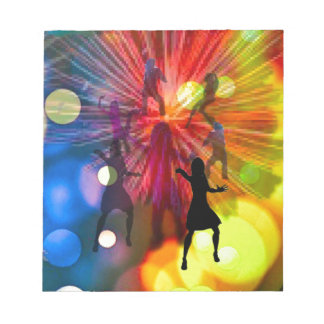 Party, dance and lights in celebration notepad