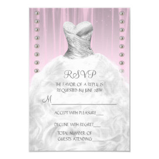 Party Dress and Pearls Pink Quinceanera RSVP 9 Cm X 13 Cm Invitation Card