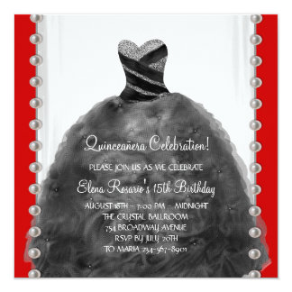 Party Dress Black Red Quinceanera Invitations
