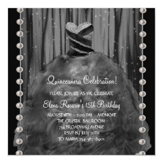 Party Dress Pearls Black Quinceanera Invitation