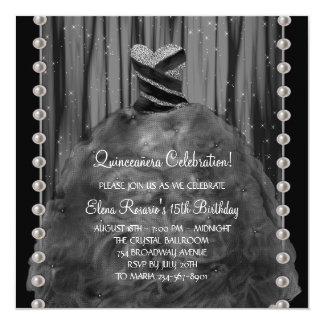 """Party Dress Pearls Black Quinceanera Invitation 5.25"""" Square Invitation Card"""