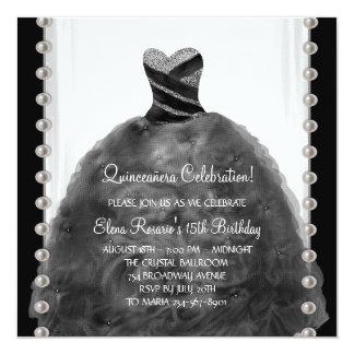 "Party Dress Pearls Black Quinceanera Invitations 5.25"" Square Invitation Card"
