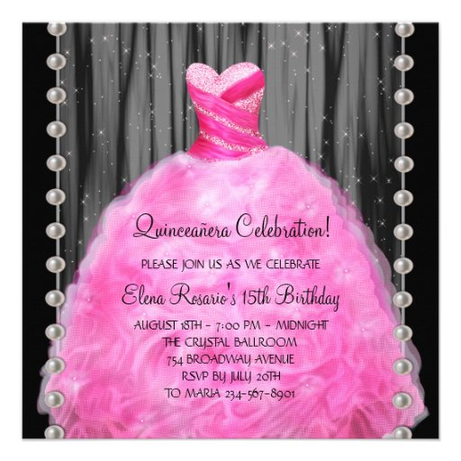 Party Dress Pearls Hot Pink Quinceanera Invitation