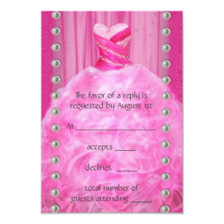 Party Dress Pearls Hot Pink Quinceanera RSVP 9 Cm X 13 Cm Invitation Card