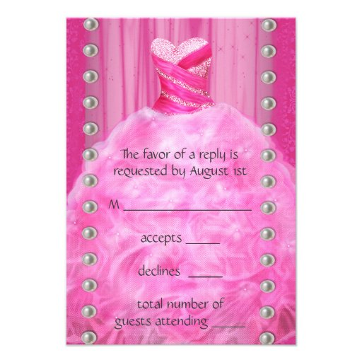 Party Dress Pearls Hot Pink Quinceanera RSVP Invitations