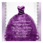 Party Dress Pearls Plum Purple Quinceanera Personalized Invitations