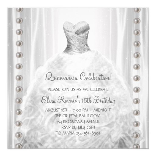 Party Dress Pearls White Quinceanera Invitations