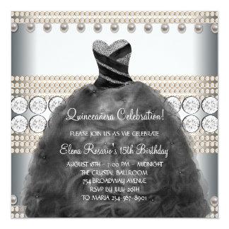 "Party Dress Pearls White Quinceanera Invitations 5.25"" Square Invitation Card"