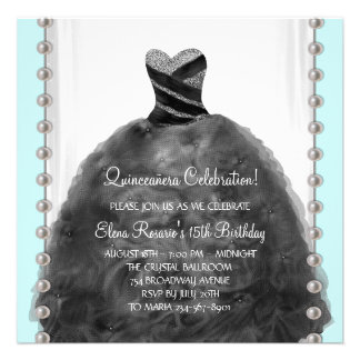 Party Dress Teal Black Quinceanera Invitations