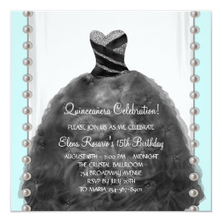"""Party Dress Teal Black Quinceanera Invitations 5.25"""" Square Invitation Card"""