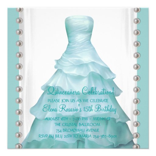 Party Dress Teal Blue Quinceanera Invitations