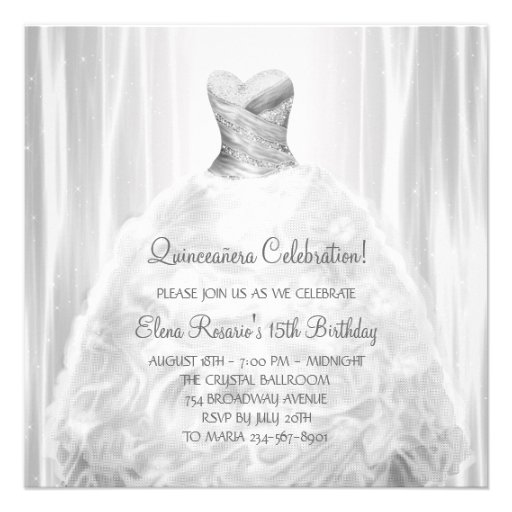 Party Dress White Quinceanera Invitations