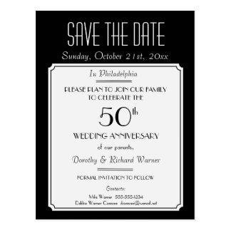 Party, Event or Reunion Save the Date in Black Post Card